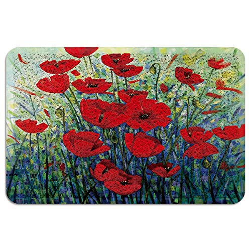 Poppy Flower Painting PVC Doormat Rubber Backing-Non Slip Watercolor Floral Art Entryway Rug Indoor Outdoor Garage Patio High Traffic Areas Shoe Rugs 24x36