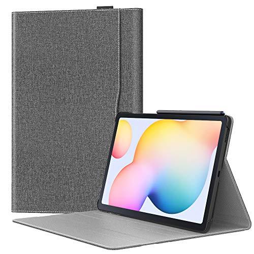 MoKo Funda Compatible con Galaxy Tab S6 Lite 10.4 2020 SM-P610/P615, Carcasa Plegable Protector Premium de Cuero PU Sintético y Tela con Ranuras y Función de Soporte - Gris del Jeans