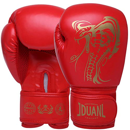 SHOUTAO 1 Paar Schlange Muster Kinder/Audits Frauen Männer Boxhandschuhe für den Kampf gegen Karate Muay Thai Handschuhe@Erwachsene rot