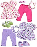 Sophia's Baby 15' Doll Twin Set with Two Complete Outfits of Floral Print Blouse, Leggings, Headband and Shoes for Two | Dolls Not Included