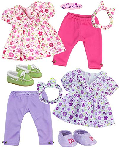 Sophias Baby 15 Doll Twin Set with Two Complete Outfits of Floral Print Blouse, Leggings, Headband and Shoes for Two | Dolls Not Included