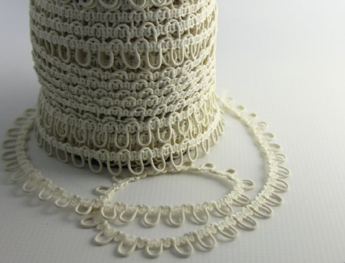 "Nakpunar 12"" Ivory Elastic Button Loops - Adjacent - for Bridal Gowns, Trails"