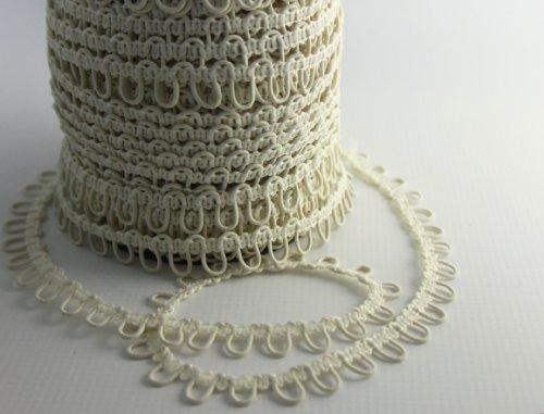 Nakpunar 12' Ivory Elastic Button Loops - Adjacent - for Bridal Gowns, Trails