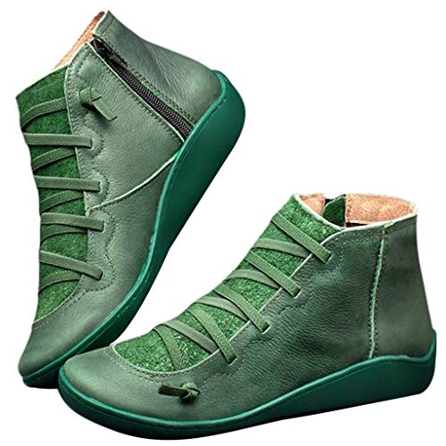 HIRIRI Women Flats Comfortable Wide Width Arch Support Ankle Boots Retro Lace-up Boots Side Zipper Round Toe Shoes Green