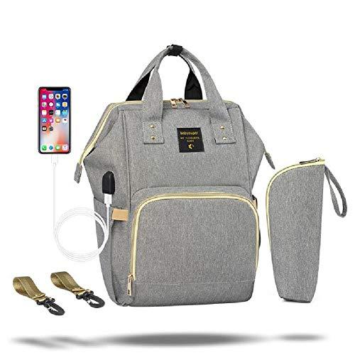 Wickeltasche Rucksack, verbesserte Wickeltasche wasserdichten Reiserucksack mit USB und abnehmbarer Lanyard-Schnittstelle, Multifunktionsrucksack mit großer Kapazität langlebig und stilvoll,B-OneSize