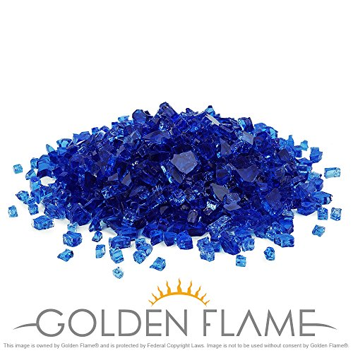 Golden Flame 10-Pound Fire Glass 1/4-Inch Cobalt Blue Reflective
