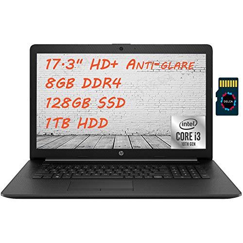 """HP 17 2021 Premium Laptop Computer I 17.3"""" HD+ Anti-Glare I 10th Gen Intel Core i3-1005G1 (> i5-7200U)I 8GB DDR4 128GB SSD 1TB HDD I DVD RW HDMI WiFi Webcam Win 10 + Delca 32GB Micro SD Card"""