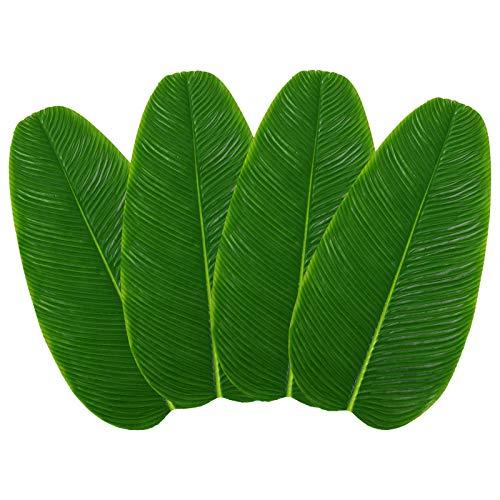 Grandes Artificiales Hojas de plátano,4 piezas Hawaiian Luau Party Faux Tropical Leaves Verde Tropical Palm Leaf Coaster Mantel individual para el hogar Cocina Decoraciones para fiestas