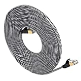 LanYunUmi Cat7 50ft/15m Ethernet Cable Nylon Braided Cat 7 50FT Internet Cable Cable RJ45 Network Cable Cat7 LAN Cable for PC Mac Router Laptop LAN Cable for PC Laptop Modem Router (50FT)