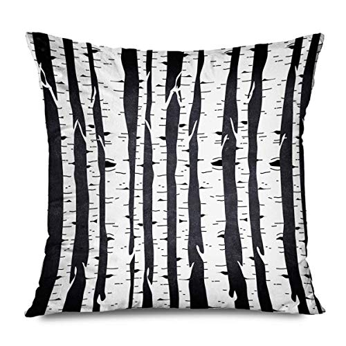 iksrgfvb Throw Pillow Cover Square 45x45CM Trees Fashionable Black Texture White Fashion Birch Forest Backround Abstract Pattern Wa