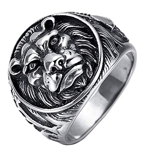 HIJONES Men's 316l Stainless Steel Gothic Biker Lion Signet Ring Silver Black Size Z