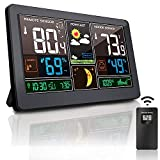 Weather Stations Wireless Indoor Outdoor Thermometer Greenke Color Large Digital Wall Alarm Clock Accurate Temperature and Humidity Monitor Calendar, Weather Forecast for Home Black