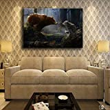 SADHAF Living Room Canvas Wall Art Abstract Poster Animal Bear And Wolf Forest Pintura al óleo Impresión de la lona Decoración del hogar A3 50x70cm