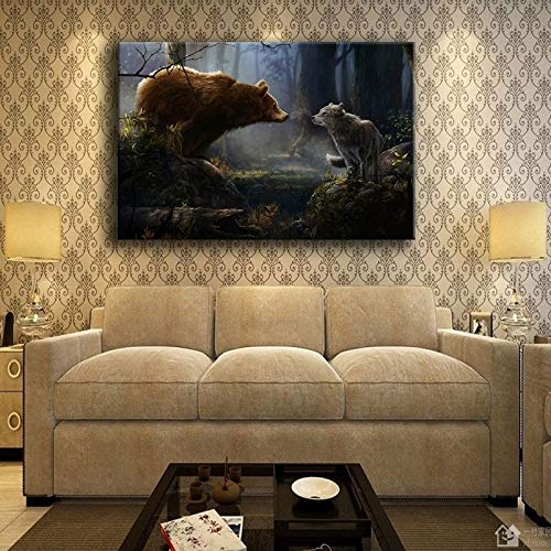 SADHAF Woonkamer canvas muurkunst abstract poster dier beer en wolf bos olieverfschilderij canvas druk Home Decoration 50x70cm (kein Rahmen) A3