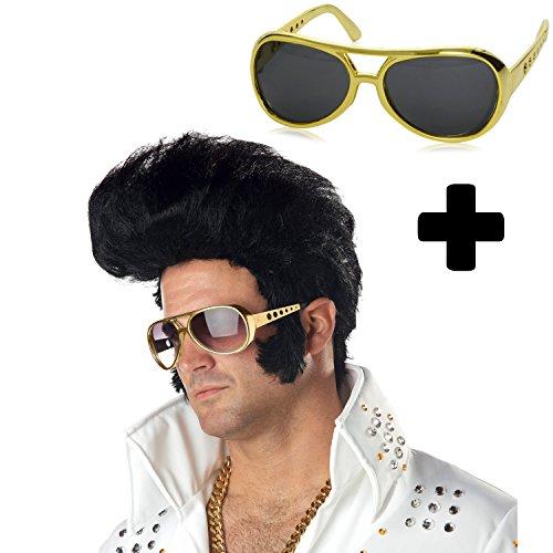 German Trendseller® - Elvis Presley Deluxe Perücke + Brille Elvis, Gold 70er