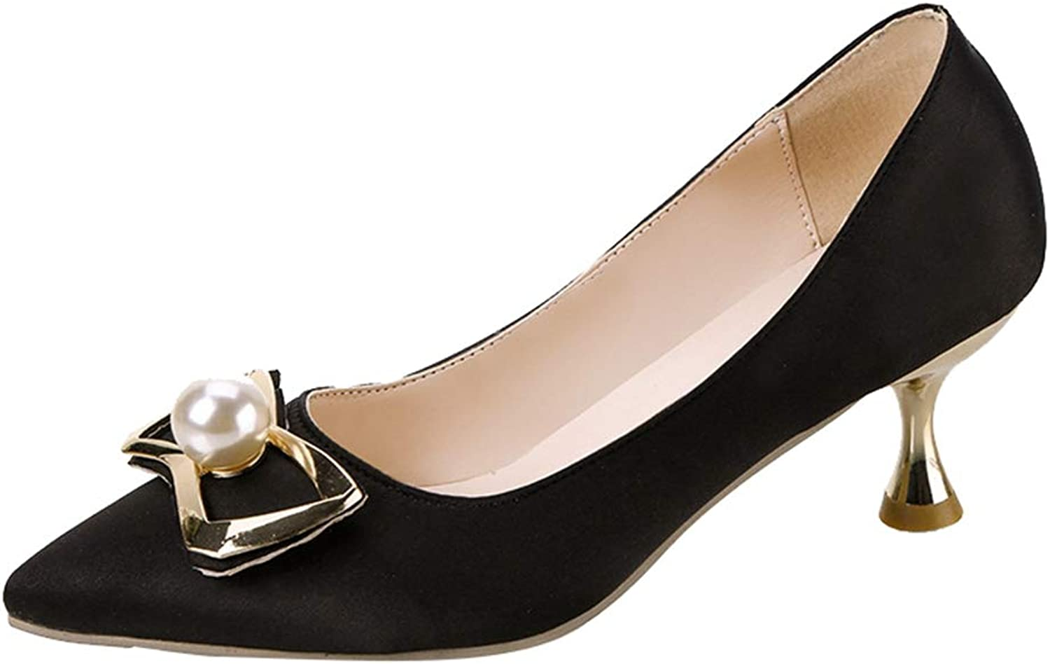 Sam Carle Women's Pumps, Elegant Pearl Bow-Knot Anti-Slip Thin Heel Shallow Mouth shoes