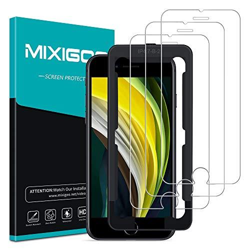 mixigoo 3 Stück Panzerglas für iPhone SE 2020/8/7/6s (4,7''), Schutzfolie iPhone 7 Displayschutzfolie mit Positionierhilfe HD Klar Anti-Kratzen 9H Härte Panzerglasfolie für iPhone SE 2020/8/7/6s