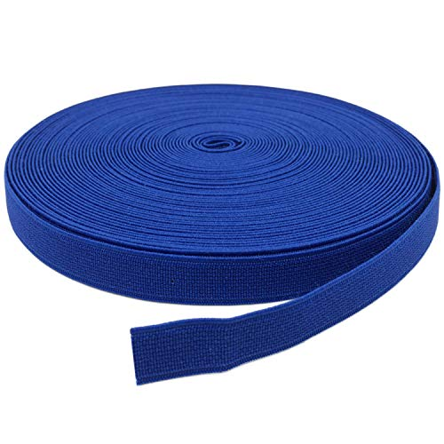YJRVFINE Thick Flat Strong Blue Knit Elastic Bands Spool Stretch Rope for Sewing Wigs Underwear 3/5inch x 17Yards(1 Roll)