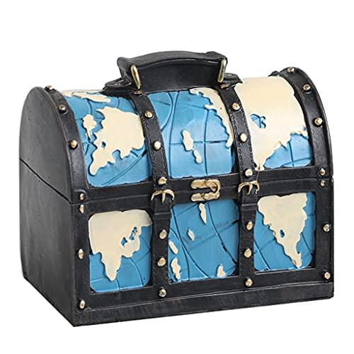 Hucha Maleta De Resina, Banco De Monedas Caja De Dinero Caja De Monedas Olla De Ahorro Bar Decoración del Hogar Se Puede Utilizar como Decoración. (Color : Blue, Size : 16×11×15cm)