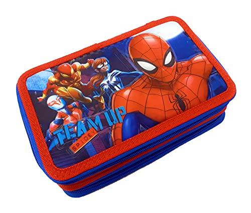 Dimagraf Spiderman - Astuccio Scuola 3 Zip Spiderman - Completo di 44 Pezzi - Prodotto Ufficiale Marvel (Modello A)