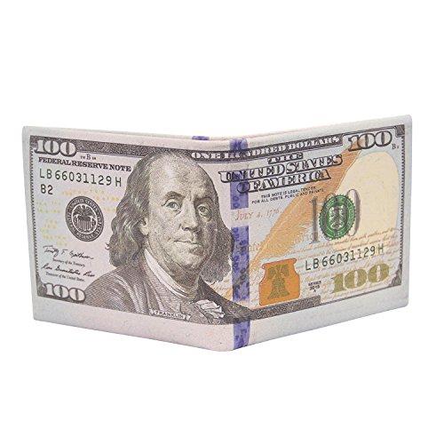 Cai Men Us Dollar Bill Wallet Billfold Leather Credit Card Photo Holder Li (100 Golden)