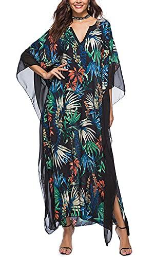 Orshoy Damen Sommerkleid Strandkleid Freizeitkleid Lose Kleider Bikini Cover Up Beachwear Kaftan Langes Kleid Tunika Maxi Pareo Boho Kimono Blumendruck Schwarz