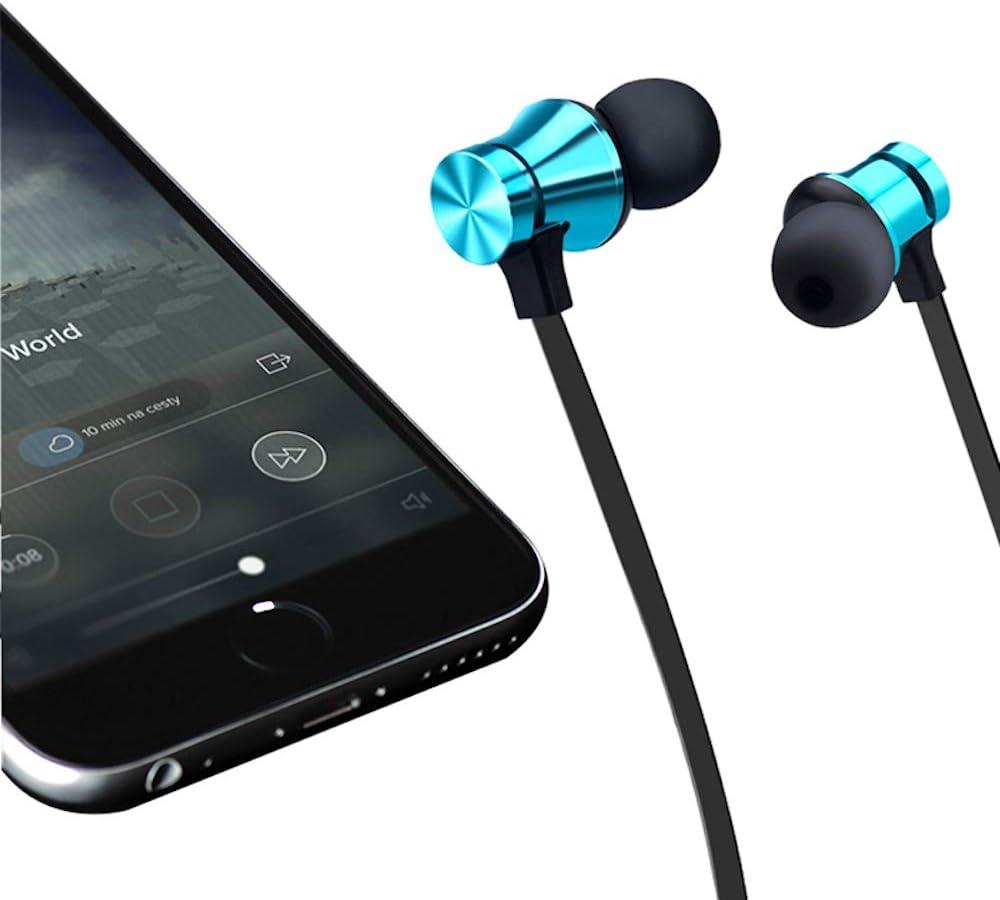 Bluetooth 4.2 Headphones Sport Magnet Stereo Earphones Headset mic Rechargeable (Blue)