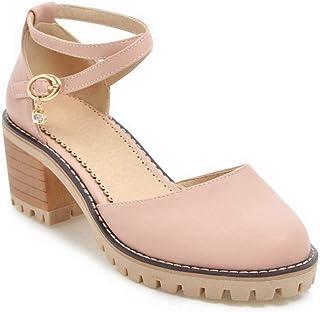BalaMasa Womens ASL06472 Pu Block Heels