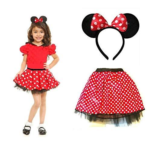 Be-Creative Juego completo de accesorios para disfraz de ratn, diseo de Red Bow, diseo de tut de lunares y diadema de Minnie Mouse
