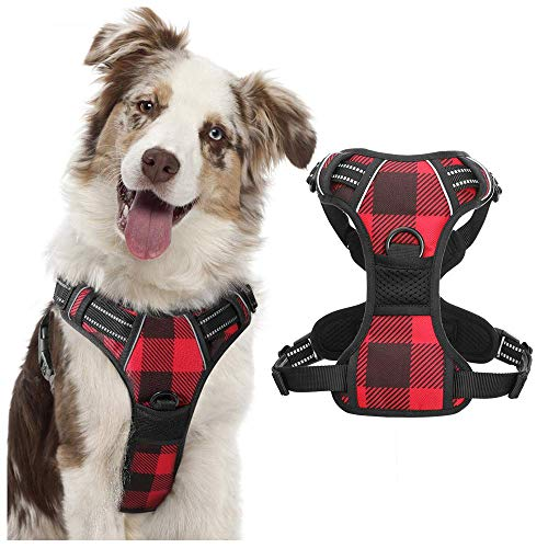 rabbitgoo Dog Harness No Pull, Adjustable Dog Walking Chest Harness with 2 Leash Clips, Comfort Padded Dog Vest Harness w/ Easy Handle, Reflective Front Body Harness for X-Large Breeds, Blue Plaid, XL