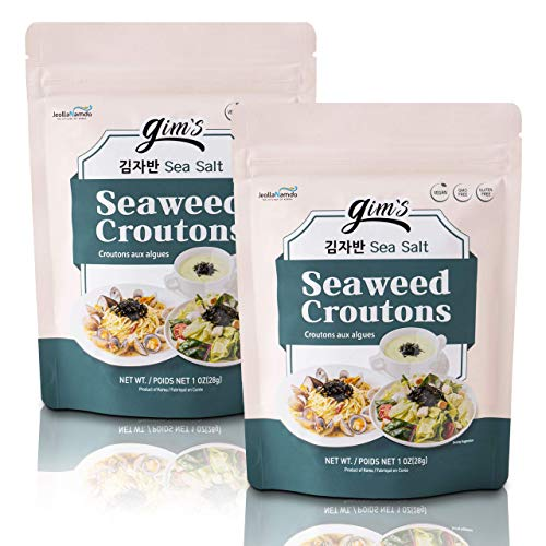 Vegan Seaweed Croutons, Sea Salt Flavor [ 2 PACK ] Gluten Free, GMO Free Toppers for Soups and Salads l Perfect Crispy + Crunchy + Lightly Salted Seaweed Snacks by [gim's] 김자반