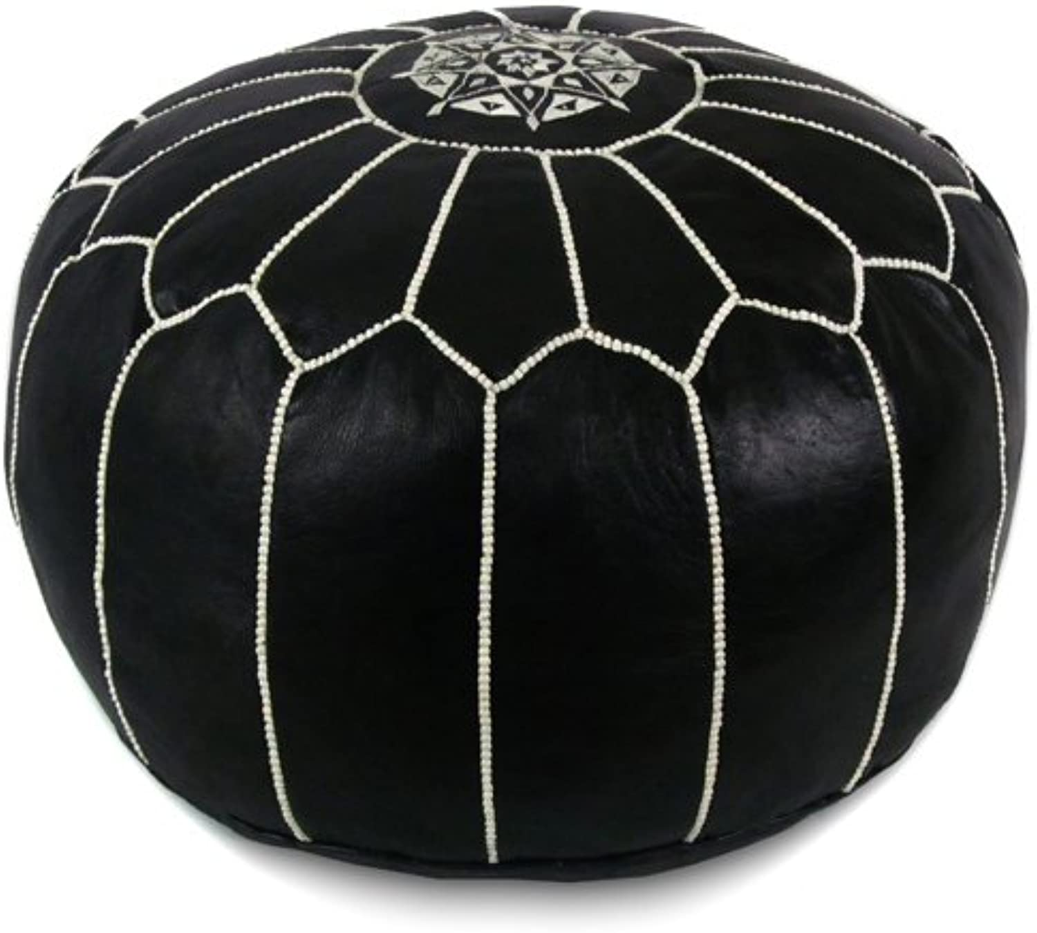 Ikram Design Mgoldccan Pouf with White Stitches, 20  by 13 , Black