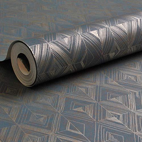 XWJRPA Wandaufkleber,Gold Marineblau geometrische Quarz Plain Tapete Metallic Kupfer Spalier Tapete Schlafzimmer Wohnzimmer Hintergrund Dekor, ZS00204,10mx53cm