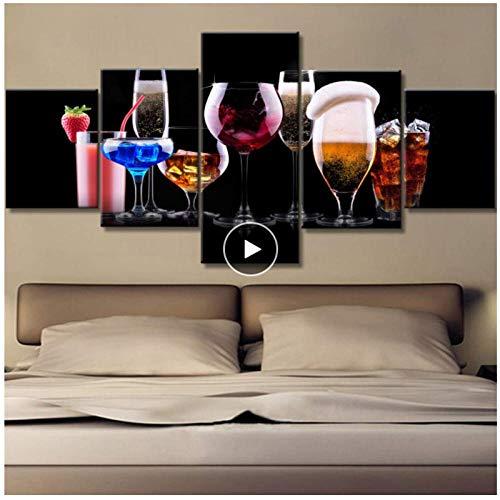 Wandgemälde für Wohnzimmer Rotwein und Saft Bilder Premium-Qualität Wandkunst Multi Panel Leinwand Kunstwerk HD-Drucke