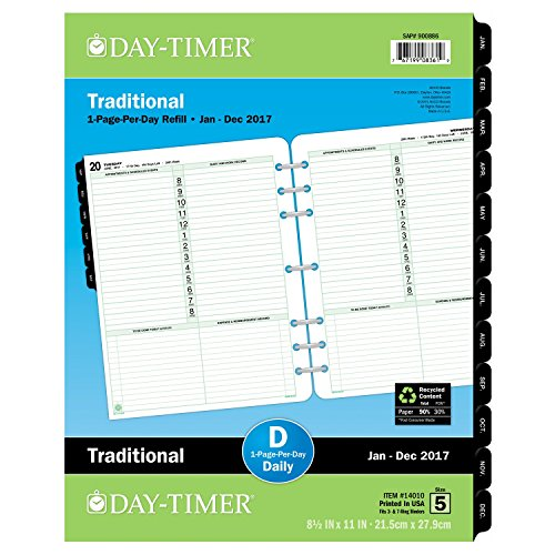 """Day-Timer Daily Planner Refill 2017, One Page Per Day, Traditional, 8-1/2 x 11"""", Folio Size (14010)"""