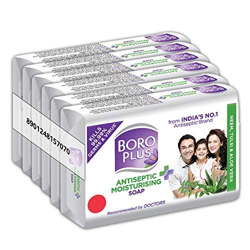 BOROPLUS Antiseptic + Moisturizing Soap – Neem, Tulsi & Aloe Vera (Pack of 6)