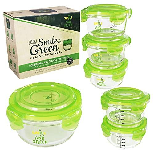 Petits pots en verre pour aliments pour bébés | Pot en verre 240 ml | Lot de 6 | Contenants en verre avec couvercles hermétiques | Résistants au micro-ondes | Borosilicate glass containers