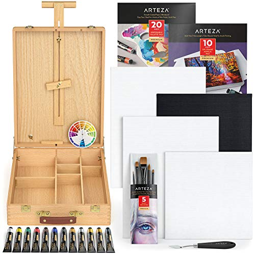 Arteza Large Acrylic Art Set, Artist Painting Kit Include Art Paint, Canvases, Paper Pads, Brushes, Easel, Art Supplies Painting Bundle for Professional Artist, Kids, Teens and Adults