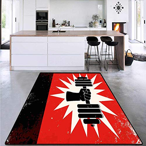 Area Rug Boys Room, Grunge Dumbbell Lift, Anti-Skid Area Rugs 4'x6'
