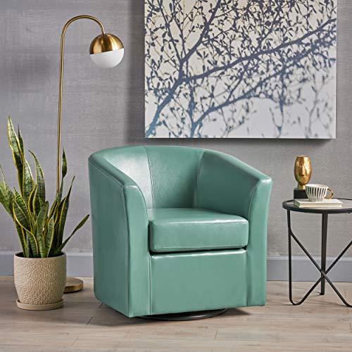 Corley Leather Swivel Club Chair