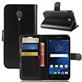 Alcatel IdealXCITE/Verso/CameoX 5044R / Raven LTE A574BL Case, Alcatel U50 5044S Case, Telegaming Retro Oil Wax Leather Wallet Flip Case with Card Slots Pouch Phone Holder Back Stand Cover Black
