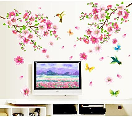 Decals Design 'Flowers Branch' Wall Sticker (PVC Vinyl, 60 cm x 90 cm),Multicolor