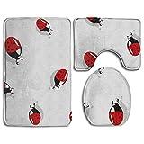 Taroot AA Cute Ladybug Insect Comfort Flannel Alfombra de baño Alfombrillas Set 3 Piezas Suave