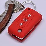 Soft Case Funda Protectora para Llave de Coche para Citroen C4 Picasso C5 C8 Despacho Jumpy Key Shell Llave Plegable/Color Rojo