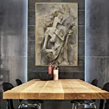 Elegdy Modern Minimalist Abstract Oil Painting Modern Hotel Model Room Entrance Wall Decoration Wall Painting (4060cm) (Color : Silver)