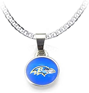 "Devastating Designs Baltimore Ravens 20"" Fan Necklace 925 Sterling Silver Men's Women's"