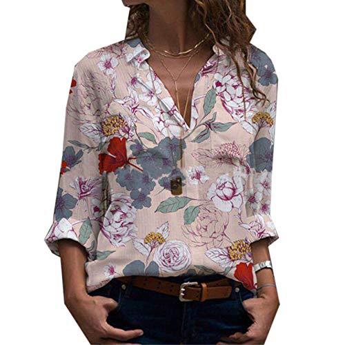 LiDaiJin Langarmhemd mit Blumenmuster für Frauen im Herbst und Winter