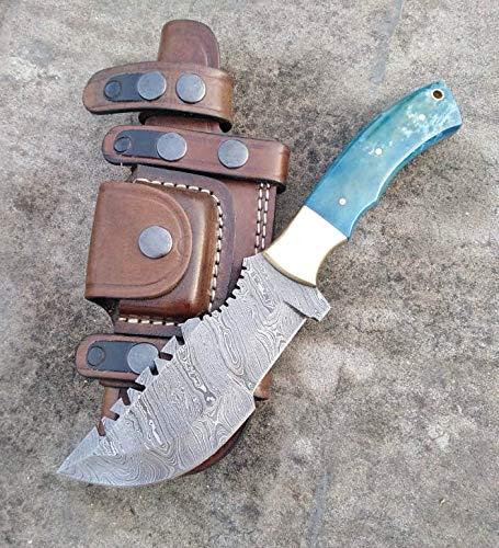 Ottoza Handmade Damascus Tracker Knife with Blue Bone Handle - Survival Knife - Camping Knife - Damascus Steel Knife - Damascus Hunting Knife with Sheath Horizontal Carry Fixed Blade Knife No:251