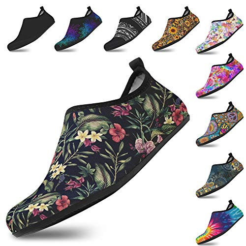 Yes we Vibe Water Shoes, Aqua Socks, Non-Slip, Quick-Dry Barefoot Shoes for Men and Women, Floral in The Dark