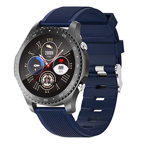 FMSBSC Reloj Inteligente Smartwatch con Medidor de Temperatura Corporal/Llamada Bluetooth/Pulsómetros/Monitor de Sueño/SpO2/Presión Arterial, Datos Deportivos, Pulsera Actividad Inteligente,Blue a